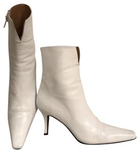 Stuart Weitzman Leather Ankle White Boots