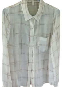Forever 21 Button Down Shirt Ivory/ Sheer