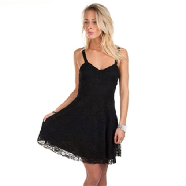 Free People short dress Flocked Velvet Lace Fit & Flare In Black Sz Small on Tradesy