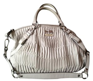 Coach Summer Ruched Leather Prada Sporty Satchel in white