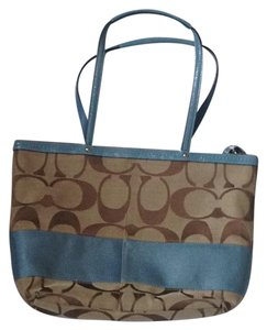 Coach Tote in sky blue and brown