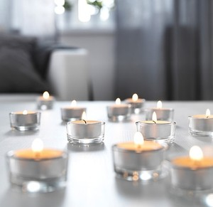 100 Tealight Candles With 60 Glass Holders