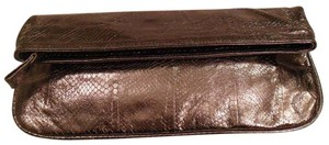 Beirn Silver Leather Gunmetal Clutch