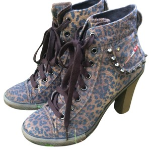 Diesel Faux Fur Animal Print Cheetah Ankle Heels Brown leopard Boots