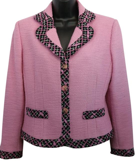 Item - Pink Tweed Wool Blend Jacket 6 Blazer Size OS