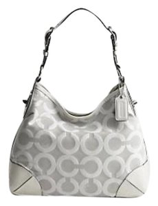 Coach Leather Satin Jacquard Canvas Silver Hardware Hobo Bag
