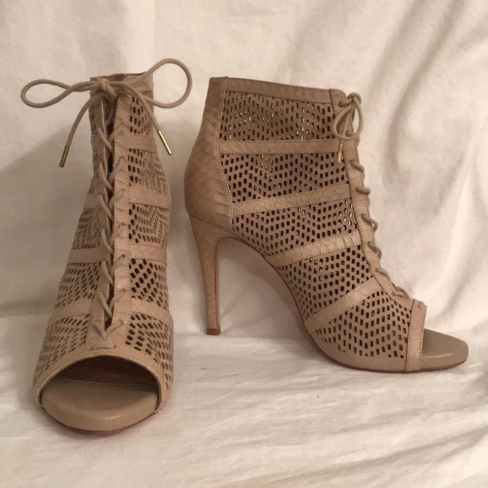 Joie Buff Leather (Beige) Snakeskin Embossed Leather Buff W/Pierced Suede Boots/Booties 8d4e6b