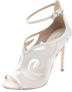 B Brian Atwood Scroll Design White Sandals