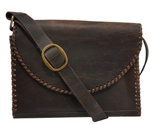Juan Antonio Distressed Leather Messenger Chocolate Messenger Bag