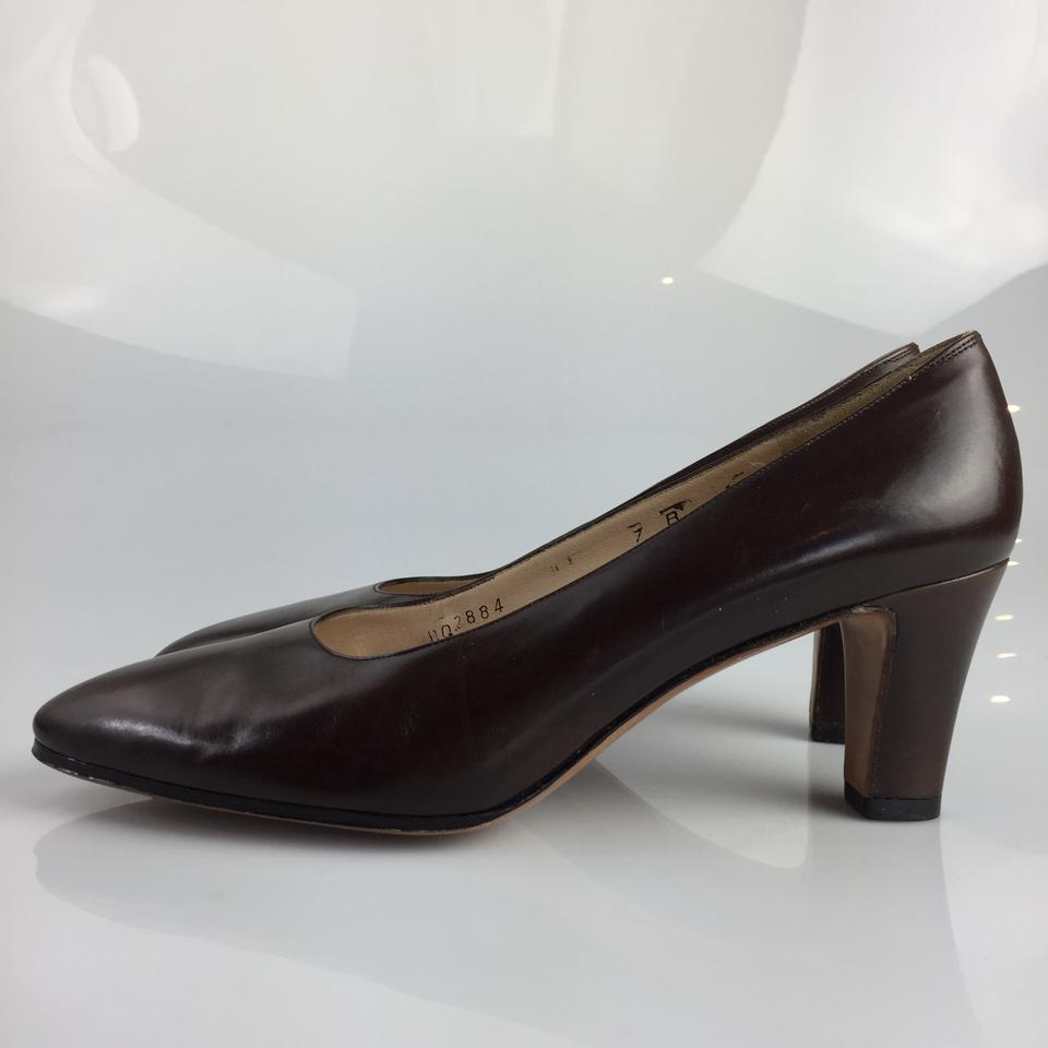 salvatore ferragamo leather brown pumps pumps on sale. Black Bedroom Furniture Sets. Home Design Ideas