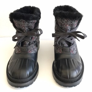 Chanel Tweed Lace-up Black/Grey Tweed Boots
