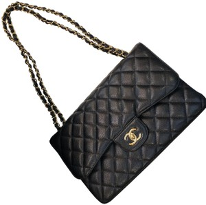 Chanel Caviar Ghw Jumbo Flap Shoulder Bag