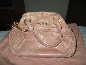Miu Miu Ornamental Lock Two Handles Tote in pink