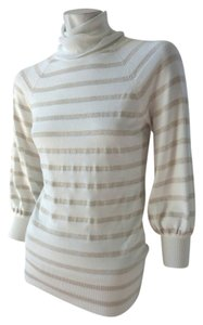Express Shimmer Gold Metallic Long Sleeve Cowl Stretchy Sweater