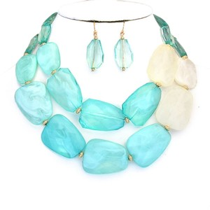 Fashion Mint Green N Ivory Resin Double Strand Gold Accent Bib Collar Necklace and Earring Set