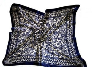 Other Blue Floral Satin Like Scarf Head Wrap Free Shipping