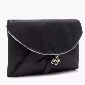 J.Crew Silk Satin Black Clutch
