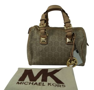 Michael Kors Mk Monogram Leather Handbag Canvas Satchel