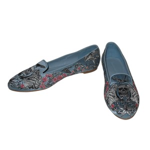 Alexander McQueen Embroidery Skull Florals Light Blue Flats