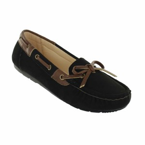 Red Circle Footwear Moccasin Flat Casual Black Flats