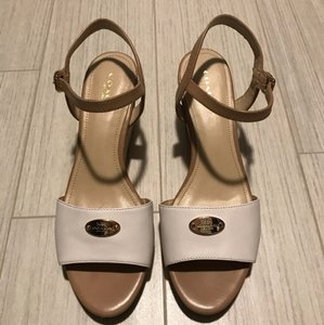Coach white and beige Wedges