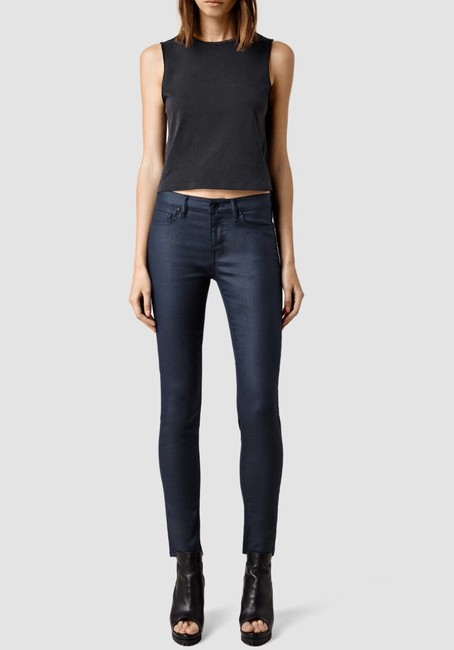 Item - Navy Coated Mast Low Rise Skinny Jeans Size 28 (4, S)