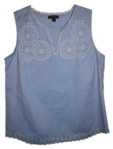 J.Crew Preppy Embroidered Casual Cotton Summer Top French Blue