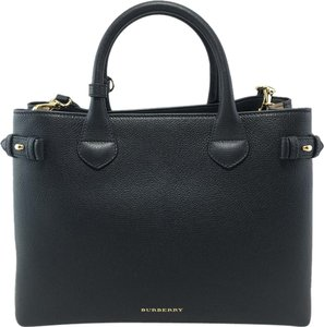 Burberry Medium Banner House Check Leather Tote in Black
