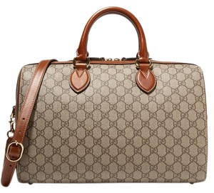 Gucci Gg Supreme Travel Weekend Carry On Beige Travel Bag