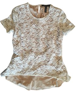 BCBGMAXAZRIA Lace Peplum Top White/Natural