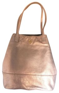Tory Burch Metallic Gold Silver Rose Gold Pink Tote in Metallic Pink