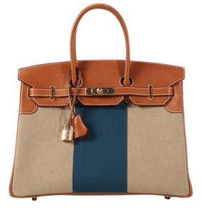 Hermès Hr.k1031.03 Toile Barenia Brown Blue Satchel