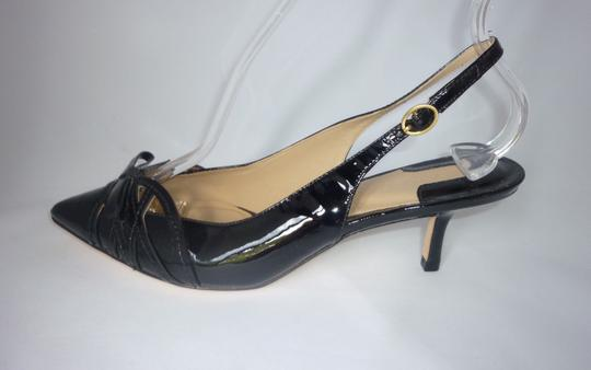 Joan & David Patent Leather Pointed Toe Black Sandals