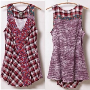 Anthropologie Top Berry/White