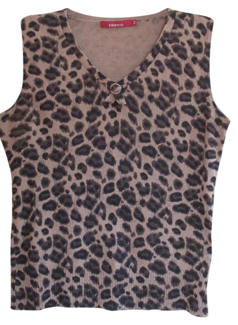 Item - Black Brown Tan Camisole Silk/Angora Leopard Pattern Tank Top/Cami Size 12 (L)
