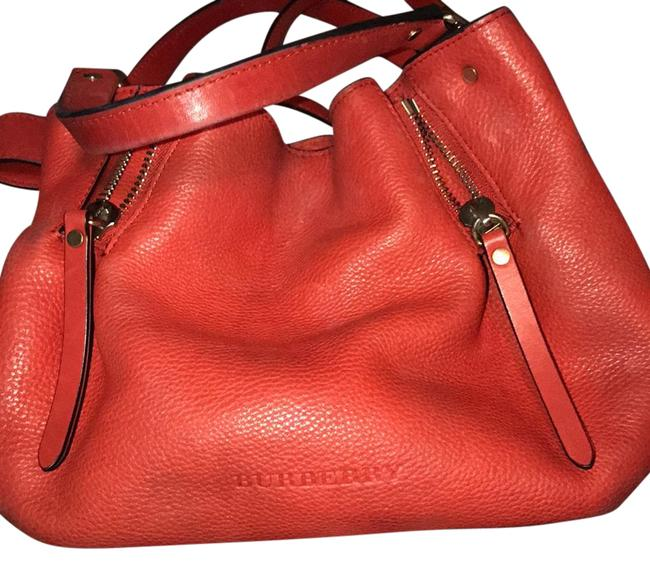 Item - Small Maidstone Satchel Red with Plaid Leather Cloth Baguette