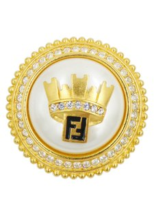 Fendi Fendi Gold Round with Large Pearl Crown and Crystal Detail Brooch