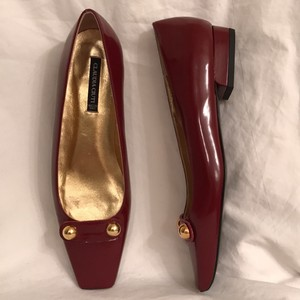 Claudia Ciuti Leather Patent Leathers Slip-ons Designer New Red Gold Flats