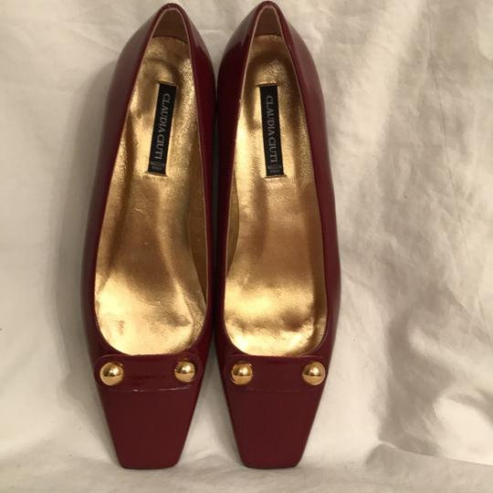 Claudia Ciuti Leather Patent Leathers Slip-ons Designer New Red Gold Flats Image 1