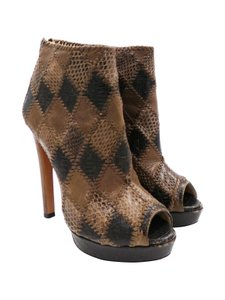 Prada Snakeskin Brown Taupe Boots