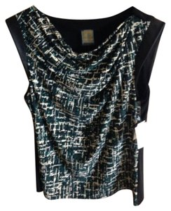 Anne Klein Faux Leather Nwt Top Green, Black & Cream