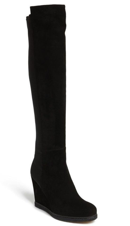 ab5624a19616 Stuart Weitzman Black Suede Demiswoon Over The Knee Wedge 5050 Boots Booties.  Size  US 10 ...