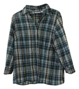 Croft & Barrow Plaid Stretchy Button Down Shirt Blue