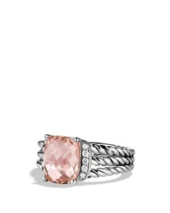 David Yurman Petite Wheaton Ring with Morganite and Diamonds