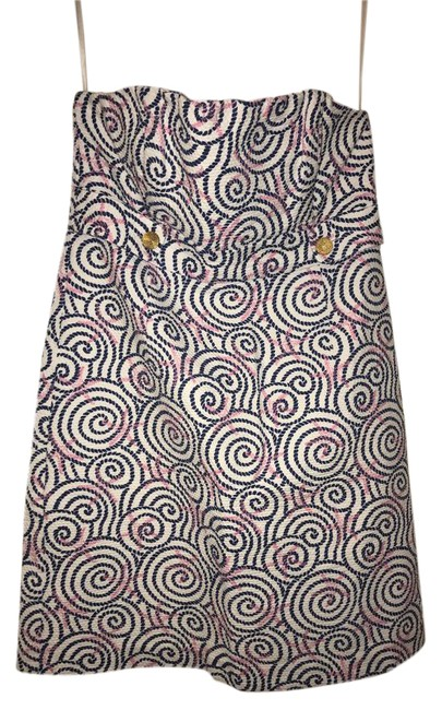 Item - White and Navy Short Cocktail Dress Size 8 (M)