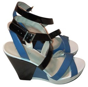 Nine West white, sky blue and navy. silver buckle Wedges