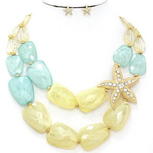 Crystal Accent Gold Starfish Multicolor Double Strand Bib Collar Necklace and Earring Set