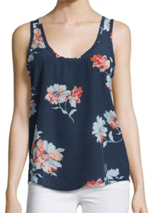 Joie Top Navy with light blue/coral flowers