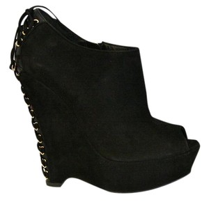 Saint Laurent Ysl Yves Bootie Suede Black Wedges
