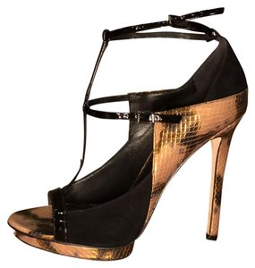 B Brian Atwood black/gold Platforms